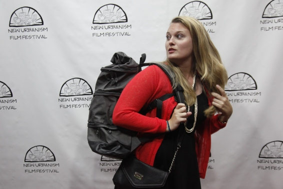 Winner Ashley Maria models her Betabrand Cornucopia Bag